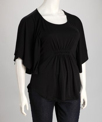 Black Shirred Cape-Sleeve Top - Plus