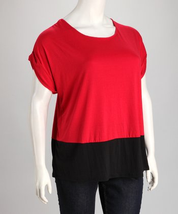 Red & Black Color Block Top - Plus