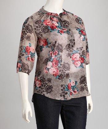 Brown & Red Sheer Rose Top - Plus