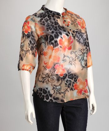 Orange & Black Sheer Leopard Floral Plus-Size Top