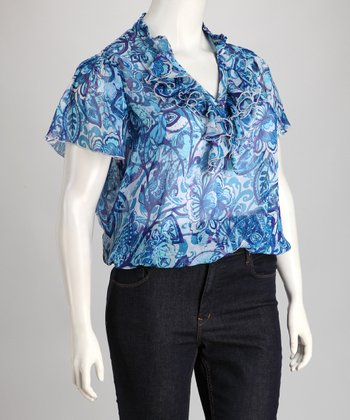 Blue Abstract Floral Ruffle Plus-Size Top