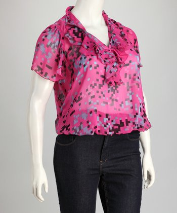 Fuchsia Sheer Geo Ruffle Plus-Size Top