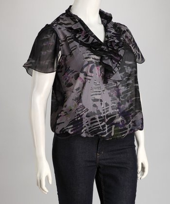Gray Abstract Ruffle Plus-Size Top
