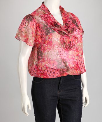 Pink Sheer Paisley Patch Plus-Size Ruffle Top