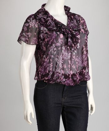 Purple Floral Ruffle Plus-Size Top