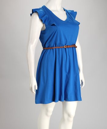 Cobalt Ruffle Sleeve Belted Plus-Size Dress