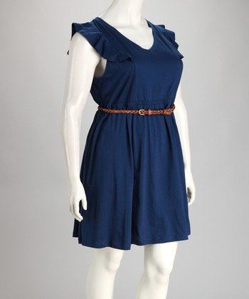 Navy Ruffle Sleeve Belted Plus-Size Dress