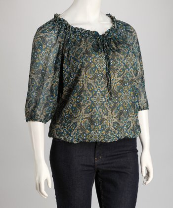 Blue & Yellow Paisley Peasant Top - Plus
