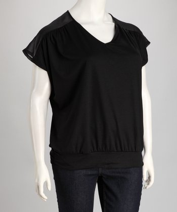 Black Sheer Shoulder V-Neck Top - Plus