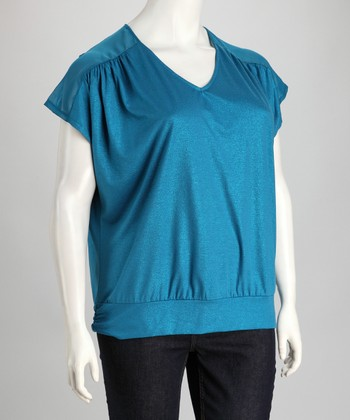 Teal Sheer Shoulder V-Neck Top - Plus
