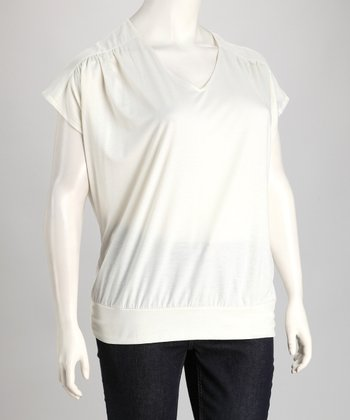 Tusk Sheer Shoulder V-Neck Top - Plus