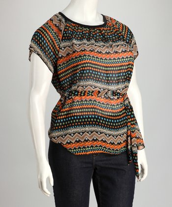 Orange & Black Zigzag Plus-Size Scoop Neck Top - Women & Plus
