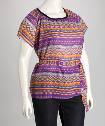 Violet & Orange Zigzag Plus-Size Scoop Neck Top - Women & Plus