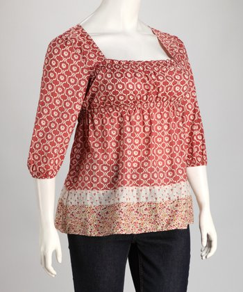 Red Abstract Plus-Size Peasant Top