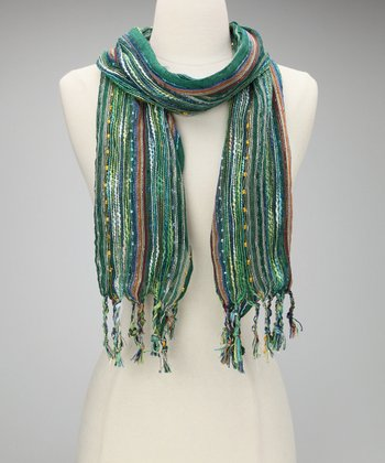 Green Metallic Confetti Scarf