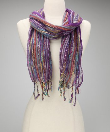 Purple Metallic Confetti Scarf