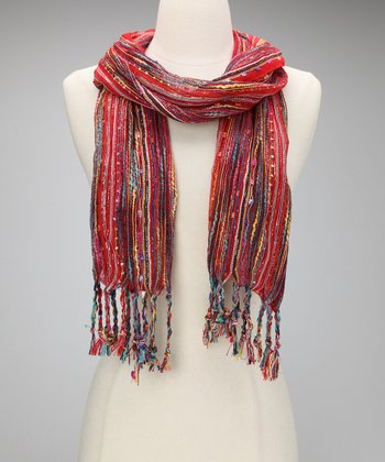 Red Metallic Confetti Scarf