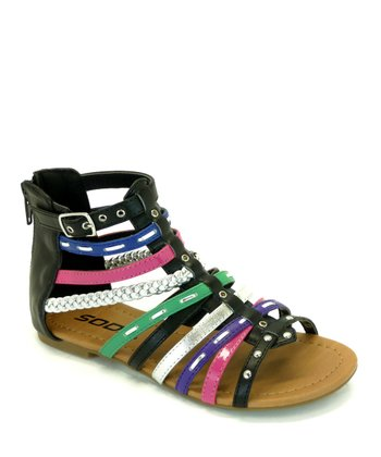 Black & Purple Elrio Gladiator Sandal