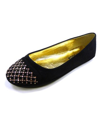 Black Suede Slam Studded Flat