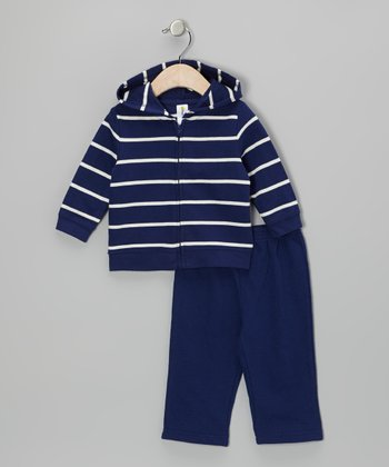 Blue & White Stripe Zip-Up Hoodie & Pants - Infant