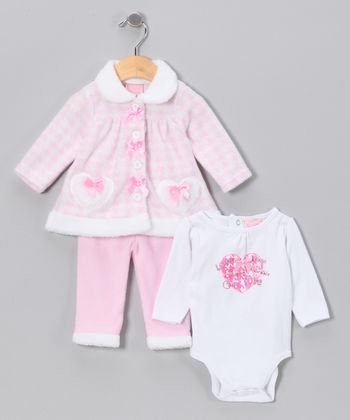 Pink Heart & Bow Pants Set - Infant