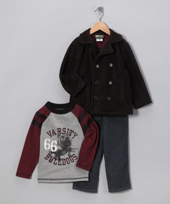 Gray Bulldog Set - Toddler & Boys