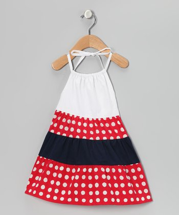 Red & White Polka Dot Tiered Halter Dress - Infant & Girls