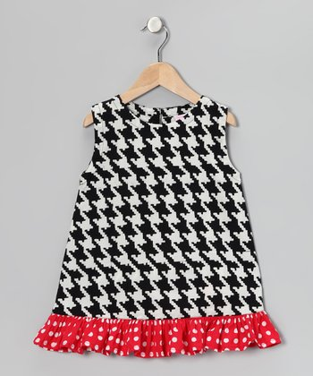 Black & Red Houndstooth Ruffle Dress - Toddler & Girls