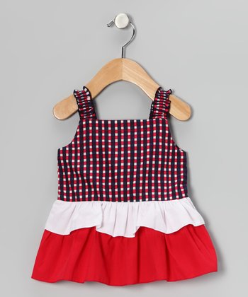 Red & Navy Plaid Tiered Dress - Infant