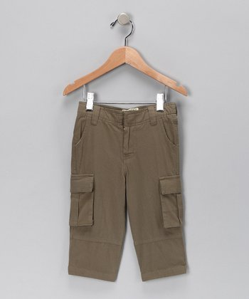 Khaki Green Organic Cargo Pants - Boys