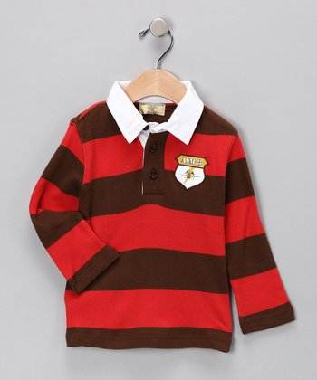 Red & Bark Stripe Organic Polo - Infant & Toddler