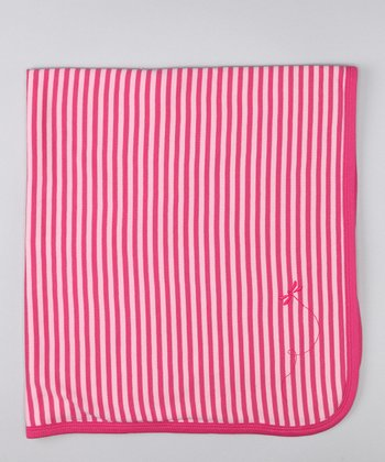 Raspberry Stripe Dragonfly Organic Blanket