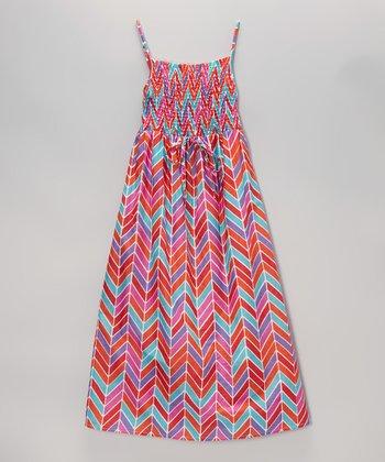 Apollo Fuchsia Herringbone Shirred Maxi Dress