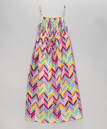 Apollo Pink & Yellow Herringbone Shirred Maxi Dress