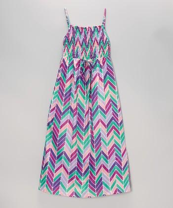 Apollo Lavender Herringbone Shirred Maxi Dress