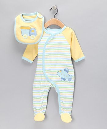 Blue Airplane Footie & Bib