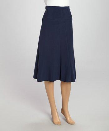 Wall Street Navy Classic Skirt - Women & Plus