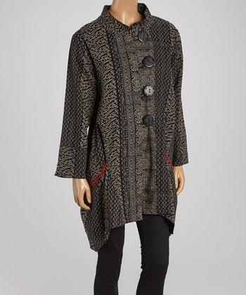 Cupcake International Black & Gold Abstract Sidetail Jacket - Women