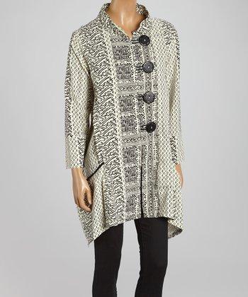 Cupcake International White & Black Abstract Sidetail Jacket - Women