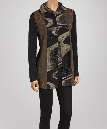 Cupcake International Brown & Black Abstract Sleeveless Vest - Women