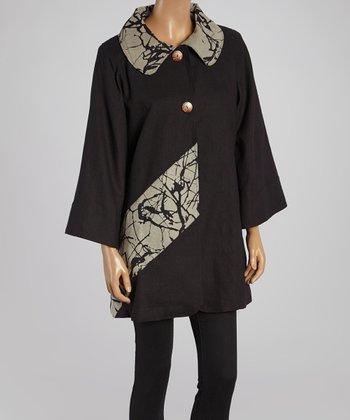 Cupcake International Black & Taupe Abstract Jacket - Women & Plus