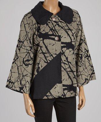 Cupcake International Black & Beige Abstract Jacket - Women