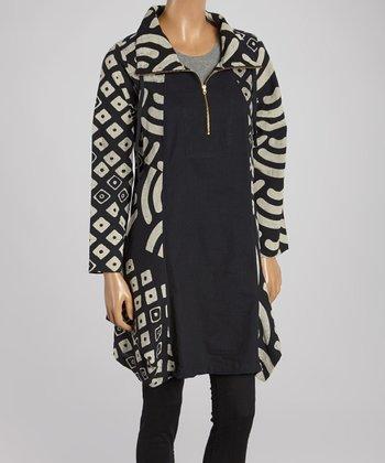 Cupcake International Black & Taupe Geo Zip-Up Jacket - Women