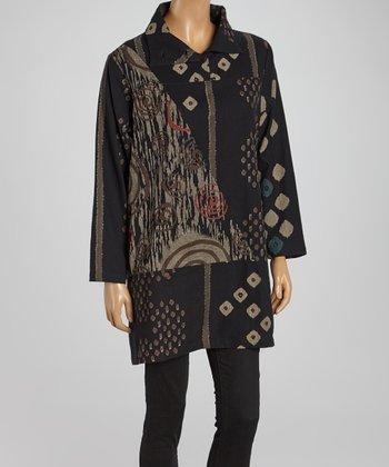 Cupcake International Black & Burgundy Geo Abstract Jacket - Women & Plus