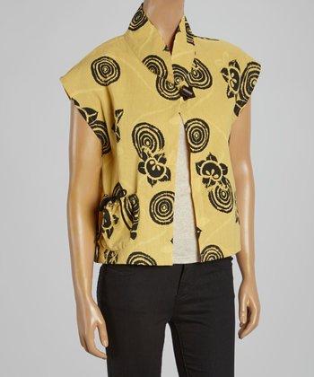 Cupcake International Yellow & Black Abstract Mandarin Collar Top - Women