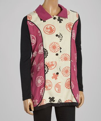 Cupcake International Pink & Black Abstract Sleeveless Vest - Women
