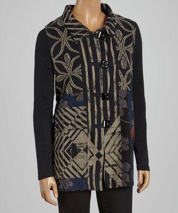 Cupcake International Black & Royal Abstract Sleeveless Vest - Women