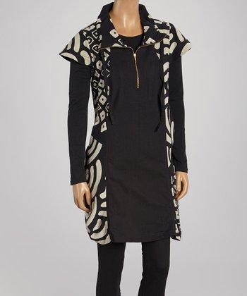 Cupcake International Black & Taupe Geo Cap-Sleeve Vest - Women & Plus