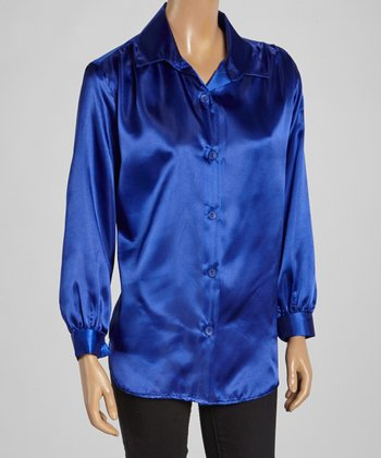 Wall Street Royal Blue Button-Up - Women & Plus