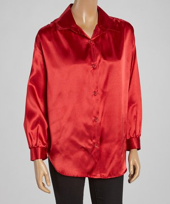 Wall Street Red Button-Up - Women & Plus